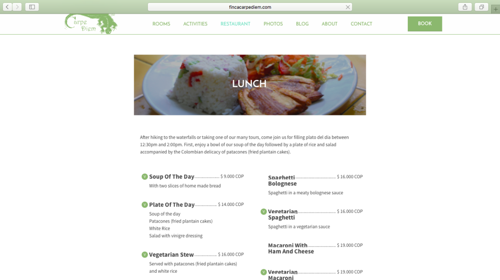 Finca Carpe Diem Restaurant page
