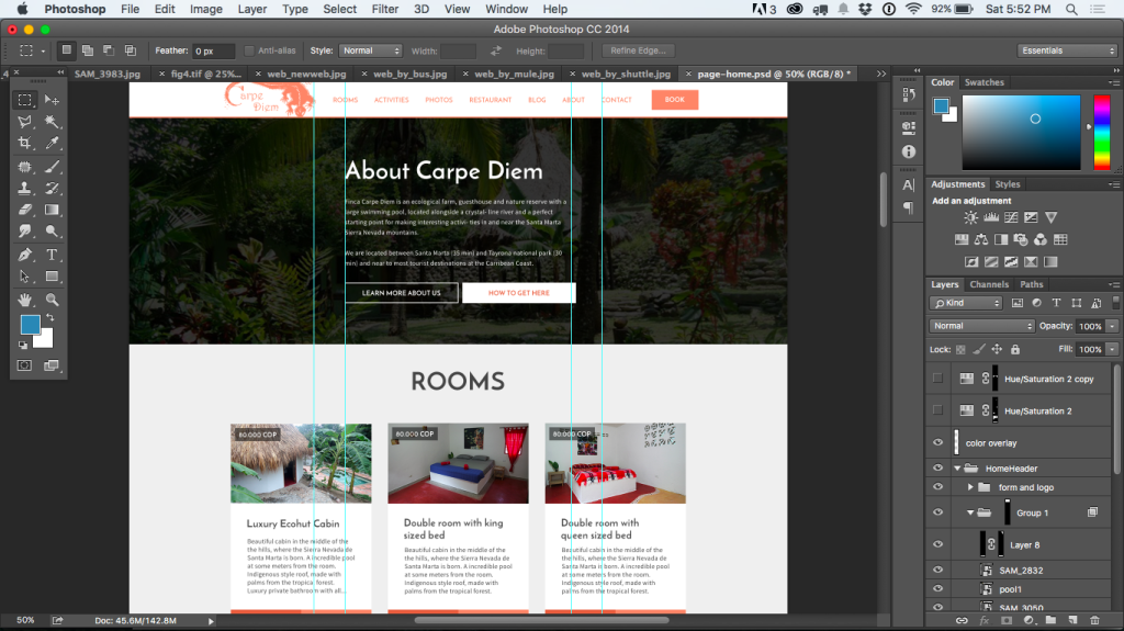 Design (pre color change) of the Finca Carpe Diem Website