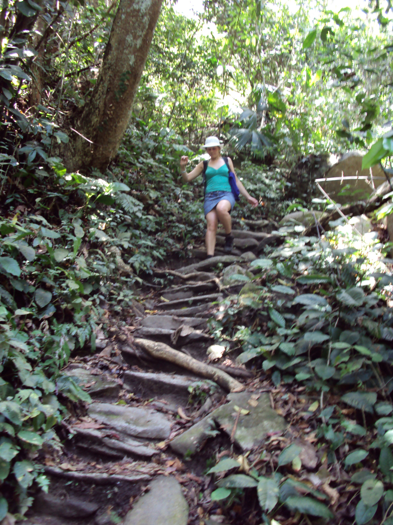 Walking down indigenous stairs in Paso del Mango